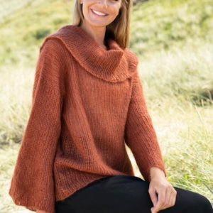 Sweater med stor rund krave i Kid Silk